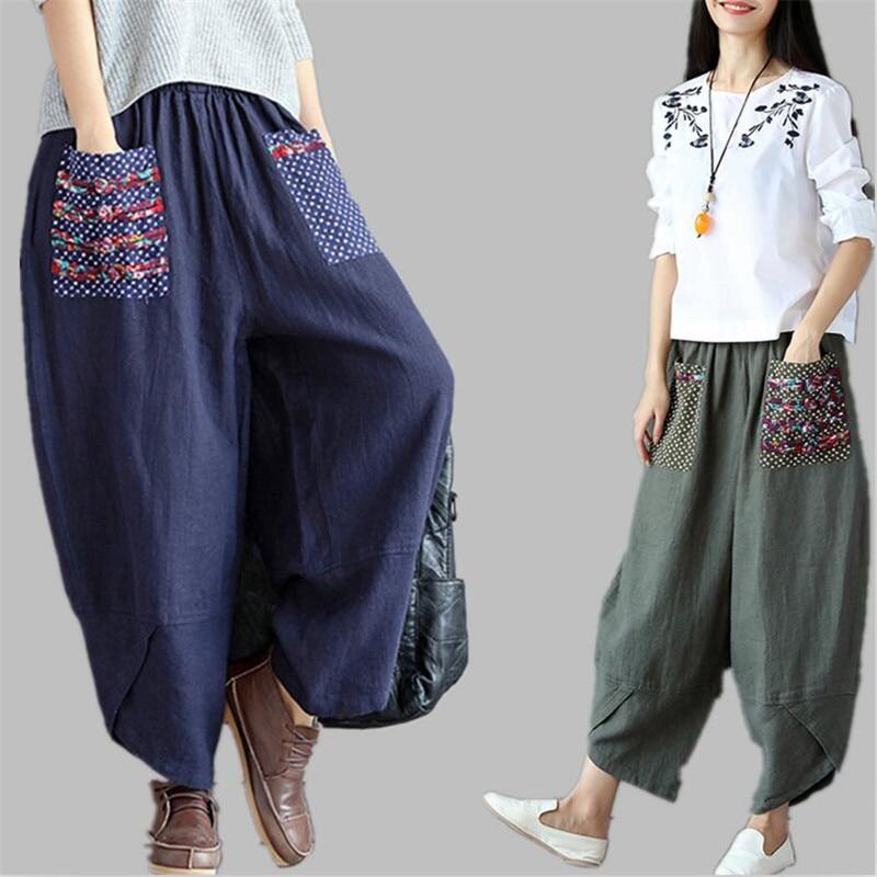 2019 Woman Trousers Cotton Linen Loose Trousers   Wide     Leg     Pants   Elastic Waist Vintage Womens Casual Harem   Pants