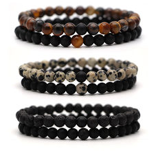 Bracelet For Women Christmas Jewellery Men's Bangles Energy Elastic Rope Couple Tiger Eye Bead Lava Natural Stone 6mm Rosary(China)