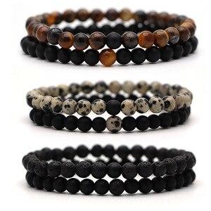 Bracelet For Women Christmas Jewellery Men's Bangles Energy Elastic Rope Couple Tiger Eye Bead Lava Natural Stone 6mm Rosary(China)