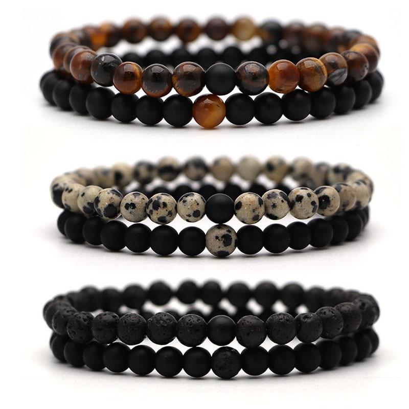Bracelet For Women Christmas Jewellery Men's Bangles Energy Elastic Rope Couple Tiger Eye Bead Lava Natural Stone 6mm Rosary