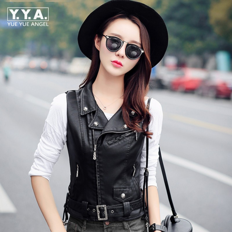 Top Quality Punk Pu   Leather   Jacket Women Waistcoat Slim Fit Belted Casaco Feminino Motorcycle Biker Jacket Zipper Colete Plus SZ