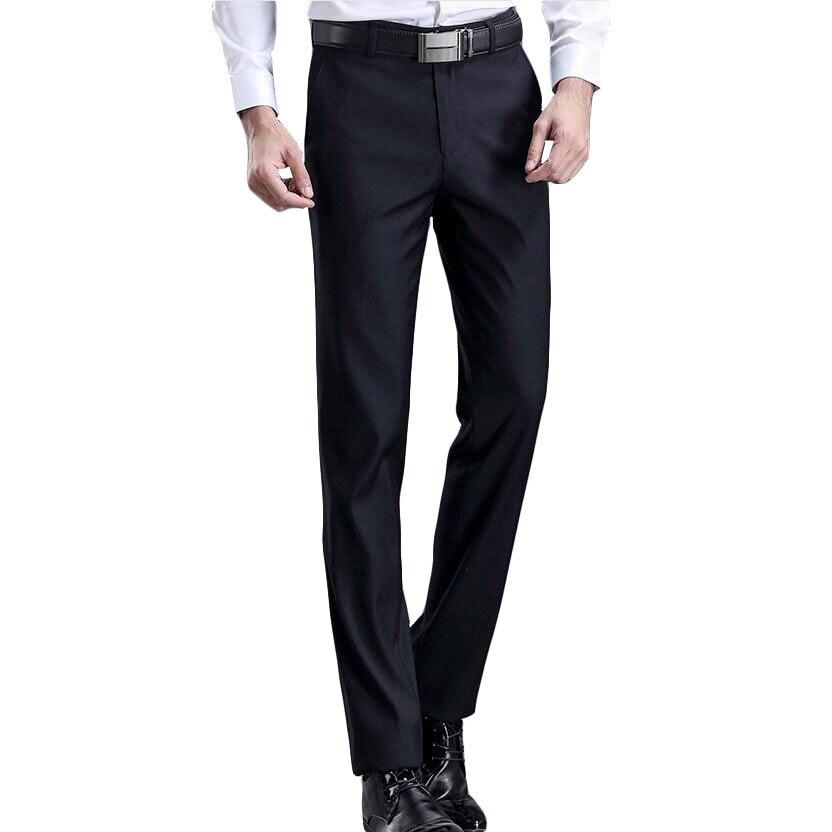 2019 Men's Slim Fit Leisure Suit Pants High Quality Men Dress Pants Silk Trousers Straight Business Mens Formal Pants 28-42