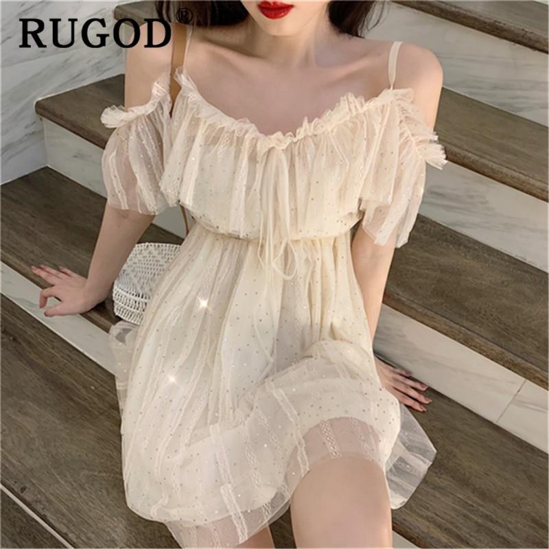 RUGOD Elegant Ruffles Sequin Mech Women Dress Fashion Off Shoulder Spaghetti Strap Party Dress Female Korean Sexy Ladies Dress