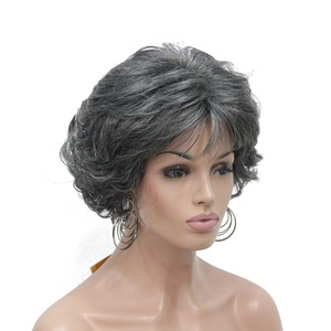 Image 4 - StrongBeauty Womens Short wig Dark brown/silver Natural Curly Hair Synthetic Full Wigs