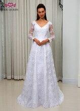Tay Dài Ảo Giác Thanh Lịch Một Dòng Váy Áo Cổ V Xem Qua Lưng Trắng Vintage Phối Ren Áo Cưới W0046
