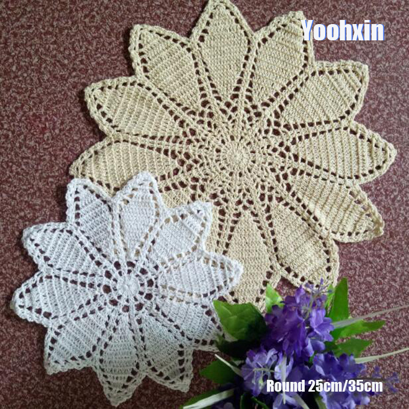 Luxury Handmade Lace Round Cotton Table Place Mat Dish Pad Cloth Crochet Placemat Cup Mug Christmas Tea Coaster Doily Kitchen
