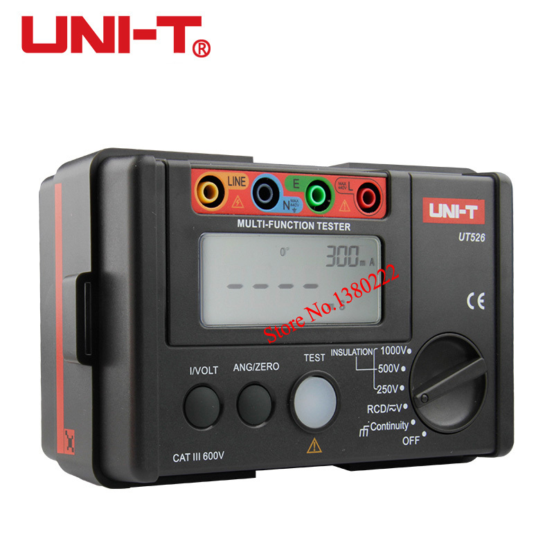 UNI-T UT526 Multi-function digital electric meter Electrical Insulation Tester Earth Resistance Meter+RCD Test+Continuity+AC/DCV