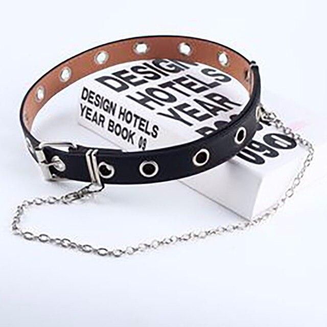 Women Punk Chain Fashion Belt Adjustable Black Double/Single Eyelet Grommet Leather Buckle Belt