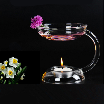 Aramis Transparent Glass Double-deck Candle Holder Candlestick With Handle Home Garden Accessories Home Decor Candle Stand skipping rope