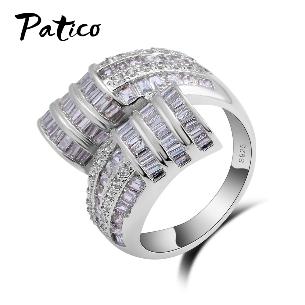 PATICO Wedding Brand 925 Sterling Silver Finger Rings for Women 3 Row Cubic Zirconia Crystal Cross Ring Bijoux 2018 Fashion Gift