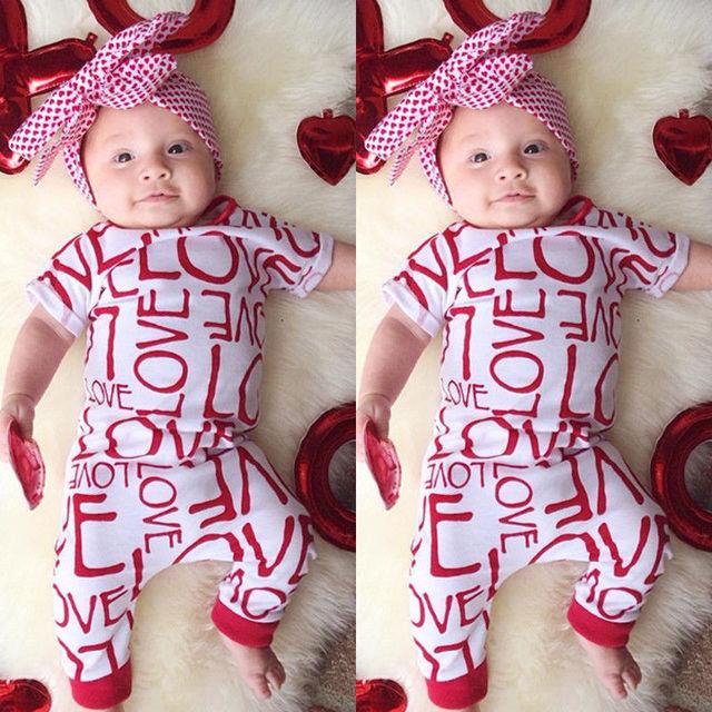 05a7b83b2e008 Cute Baby Boys Girls Clothes 0-18M Newborn Infant Toddler Kids Bodysuit  Short Sleeve Cotton Love Bodysuits Playsuit One Pieces