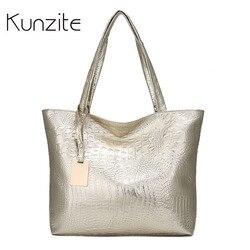 Kunzite Crocodile Pattern Soft Women Leather Handbag Silver Gold Black Shoulder Bag Big Female Casual Tote Bag Ladies Hand Bags