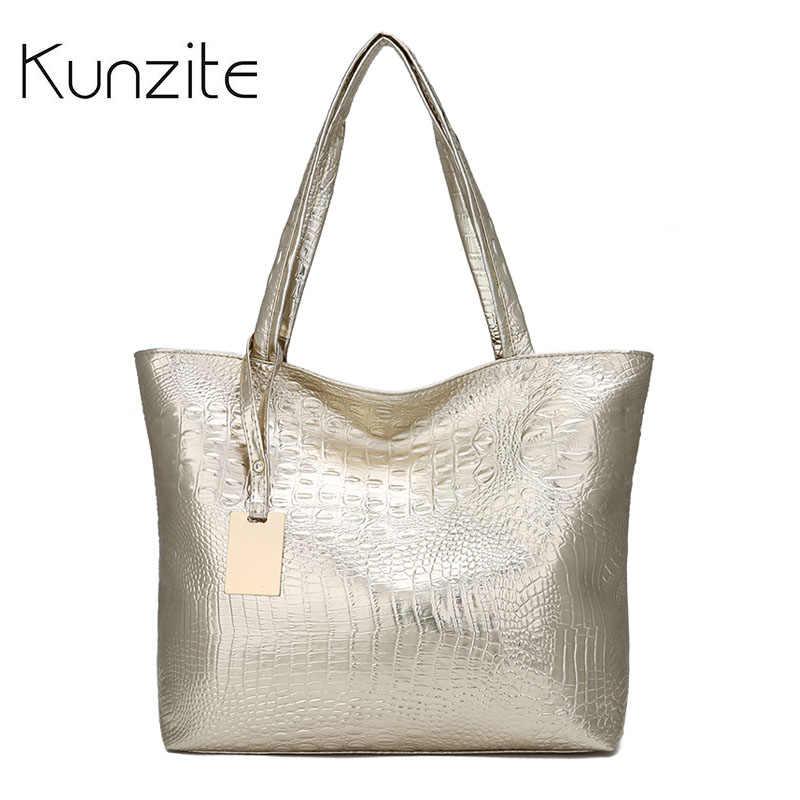 Kunzite/мягкая женская кожаная сумка с крокодиловым узором; Цвет серебристый, золотой, черный; большая женская Повседневная Сумка-тоут; женские ручные сумки