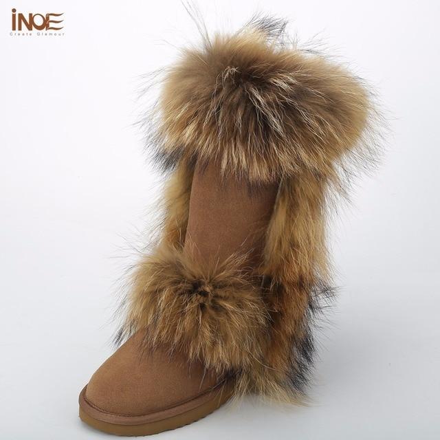 ИНОЕ Мода большой лисий мех настоящее кожа коровы высокие зимние снег сапоги для женщин зимней обуви высокие сапоги водонепроницаемый высокое качество
