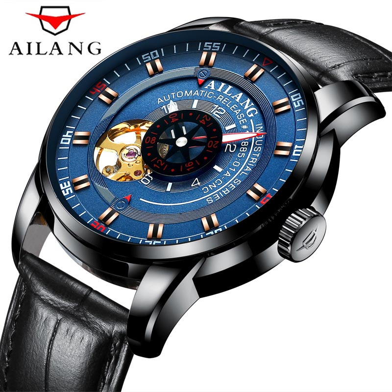 AILANG Top Brand Waterproof Men Tourbillon Full-automatic Mechanical Watch Luxury Fashion Brand Leather Business Man Watches New 2017 new ailang luxury business men watch top brand automatic mechanical full stainless watches waterproof calendar clock