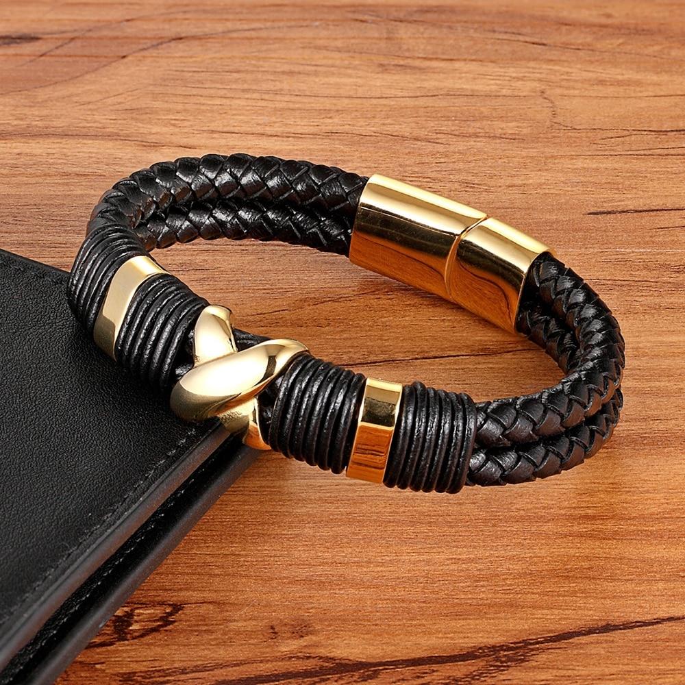 XQNI 2018 New Fashion Luxury Accessories Bangle Men Genuine Leather Bracelet Gold with Geometric/Skeleton Design Jewelry Present