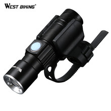 WEST BIKING Bike Light Ultra-Bright Stretch Zoom CREE Q5 200m Bicycle Front LED Flashlight Lamp USB Rechargeable Cycling Light(China)