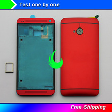 Original LCD Front Frame Battery Door Back Cover For HTC One M7 801e 801n 801s Power Volume Buttons w Camera Lens For M7 Housing стоимость
