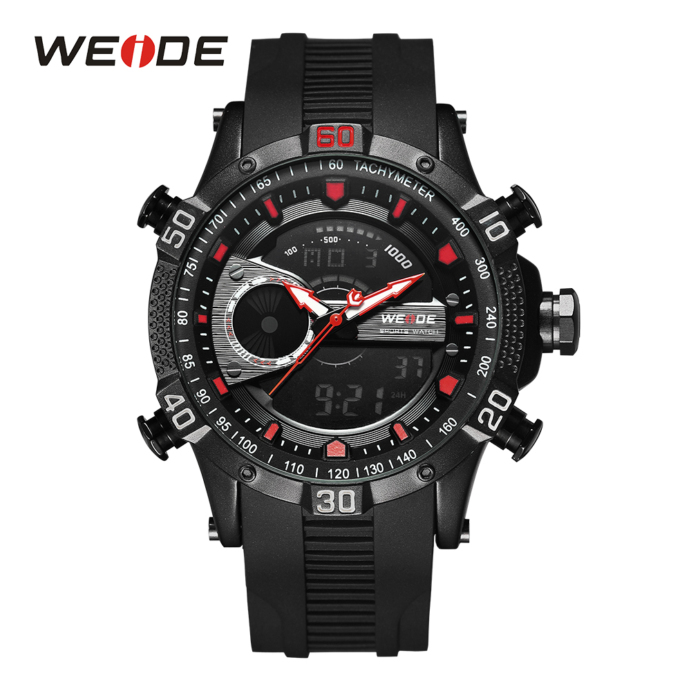 WEIDE Men Digital Wristwatch Sports Black Red Watches Chronograph Backlight Alarm Date Day Analog Stopwatch Quartz Rubber Band rga r 981 sports watche red