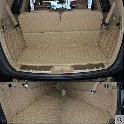 Специальные коврики для багажника автомобиля для Mercedes GL 400 7 мест 2014 Водонепроницаемые кожаные ковры зеленые износостойкие полностью окруж