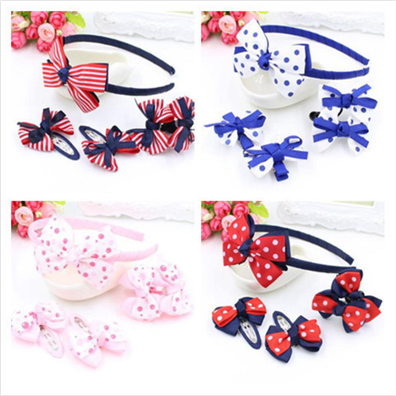 5pcs=1set Children's Hair Clip Set Hairbands Hair Barrette Hair Accessories Set Girls Headwear Rubber Band Bow Headband Hairpins