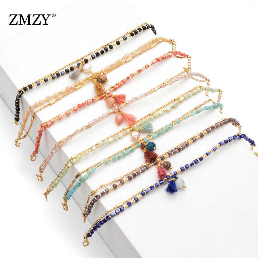 ZMZY Slim Cute Square Glass Crystal Beads Bracelet Colorful Women's Bracelet Friendship Bracelet Adjustable Bohemian Jewelry