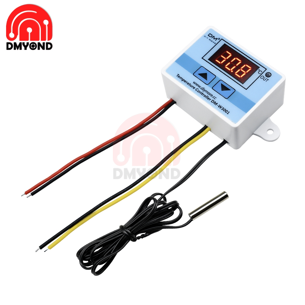 <font><b>W3001</b></font> <font><b>XH</b></font>-<font><b>W3001</b></font> Temperature Controller DC 12V Digital LED Temperature Controller Thermometer Thermo Controller Switch Probe image
