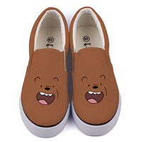 Kawaii Animal Bear Hand Painted Student Canvas Shoes Loafers Unique Cartoon Graffiti Girls Slip On Couples Lovers Lazy Shoes
