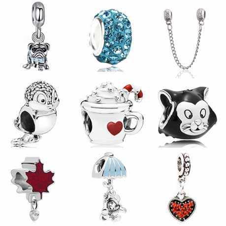 Эмаль маленькие сердца ручной работы подарки птица кошка якорь подвески-шармы Pandora Браслеты ожерелья для женщин DIY Berleques ювелирные изделия