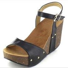 Señoras verano zapatos mujer cuña calzado vintage mujer Sandalias tacones  altos plataforma decoración remaches chaussure F180654 d34beda83dc1