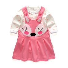 2016 весна и осень Корейской версии девочка хлопка с длинными рукавами костюм младенца милый мультфильм Платья 6-24 месяцев новорожденных одежда