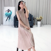 FREE SHIPPING Miyake Fashion fold sleeveless pure color stand A LING dress IN STOCK