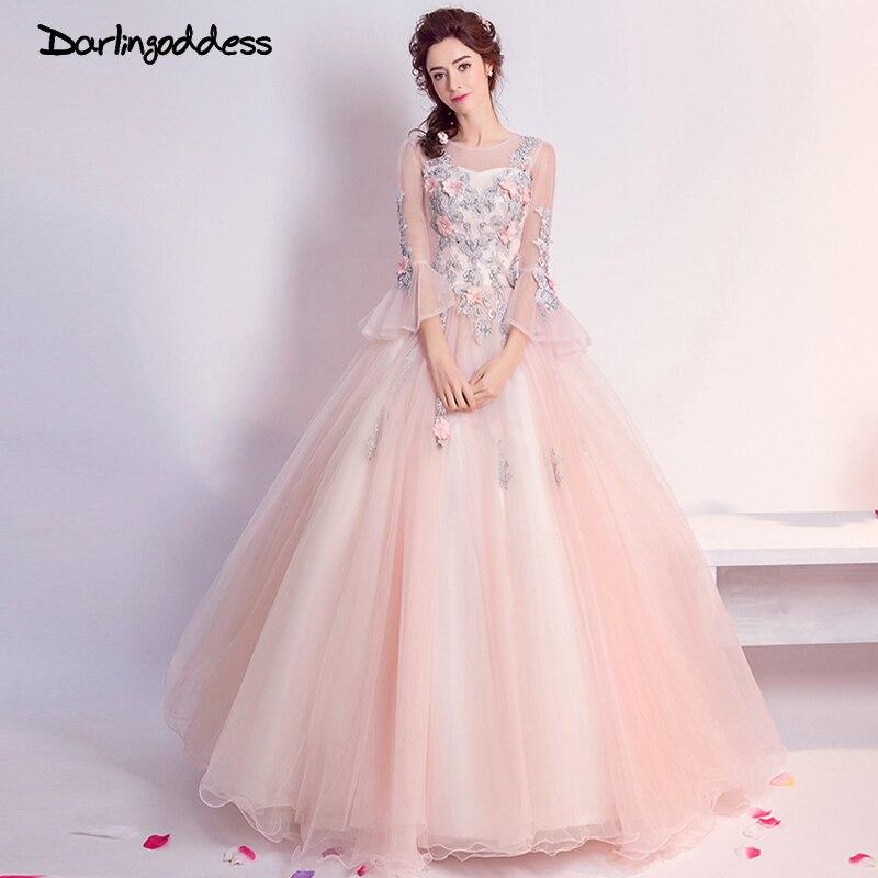 Darlingoddess Vestido De Noiva 2018 Luxury Pink Long Sleeves Wedding Dress Ball Gown 3D Flower Sexy Lace Wedding Gowns Princess