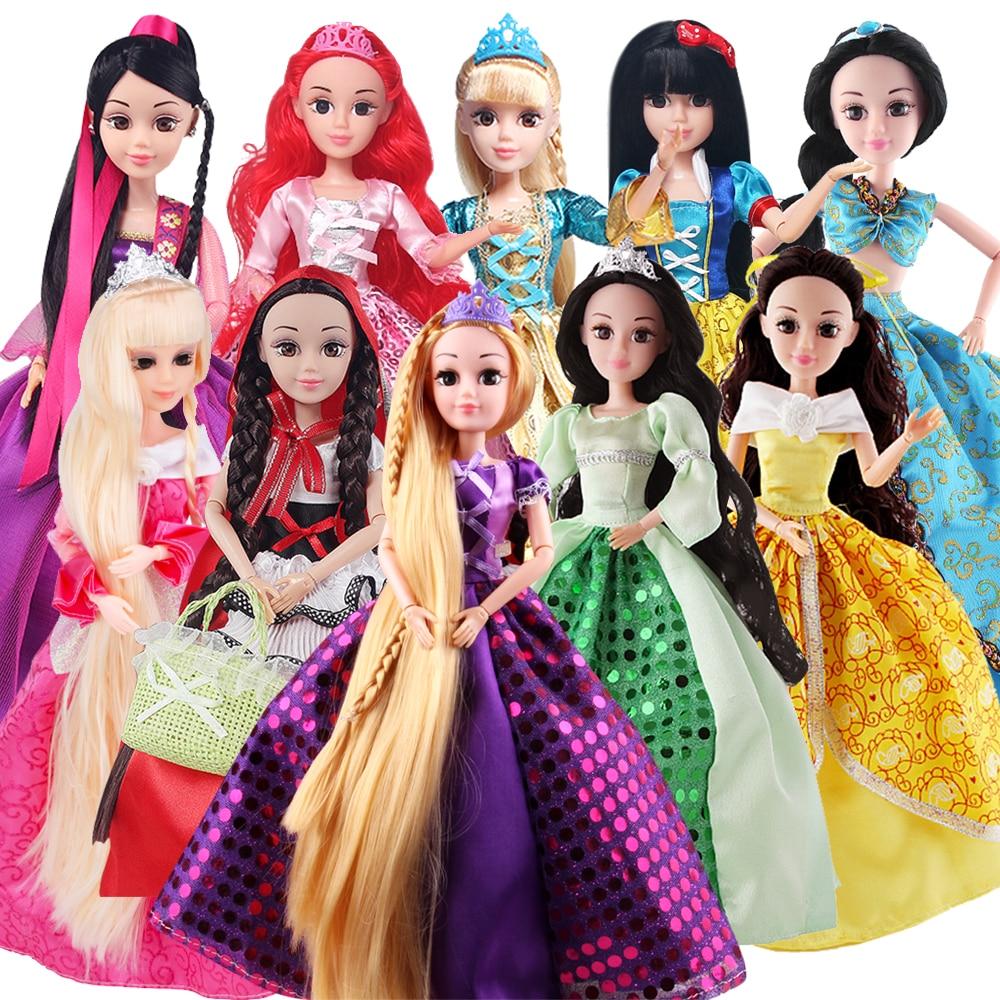 6 Models Fashion Princess Dolls Cinderella/Snow Whit/Mermaid/Rapunzel/Sleeping Beauty Doll for Girls Gift Best Friends Toys DIY