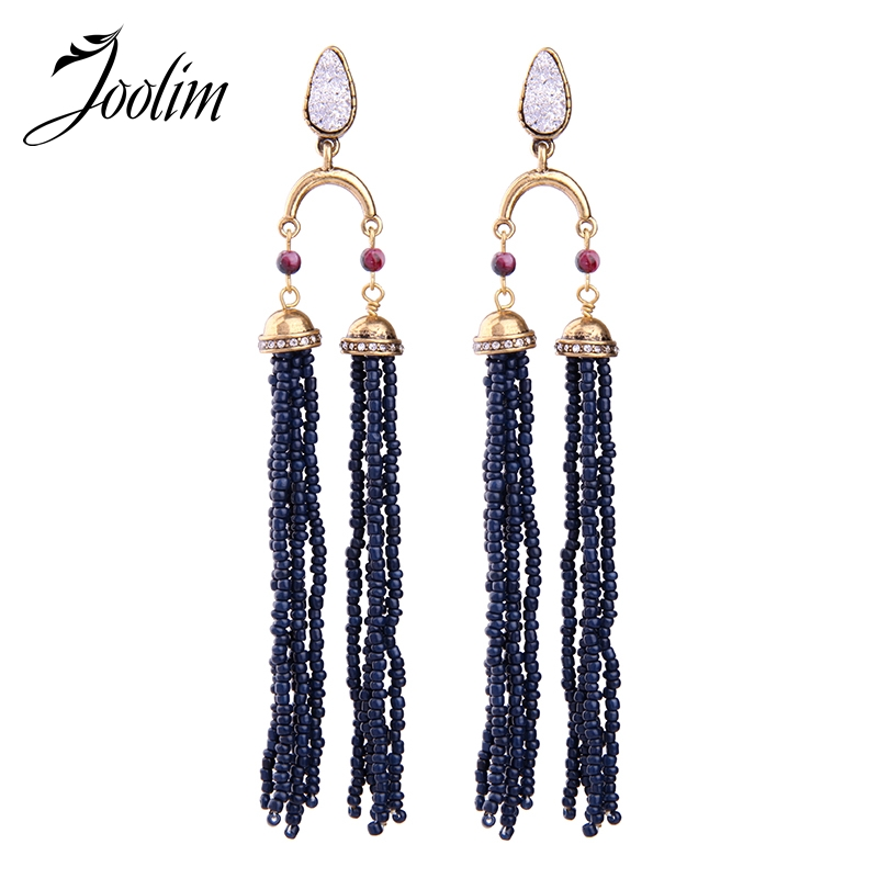 Purposeful Joolim Jewelry Wholesale/2017 Dark Blue See Bead Tassel Statement Earring Maxi Party Jewelry Cocktail Women Gift Free Shipping Excellent Quality In