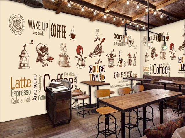 Buy custom retro wallpaper coffee for Cafe mural wallpaper