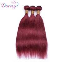 Dorisy бордовый перуанский прямые волосы пучки человеческих волос Связки красный дважды утка волос 3 шт. 99J Волосы remy ткань