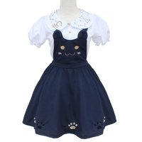 Soft Sister Cute Dresses Japan HARAJUKU Gothic Lolita Navy Blue Preppy Style Dress Women Mori Fresh