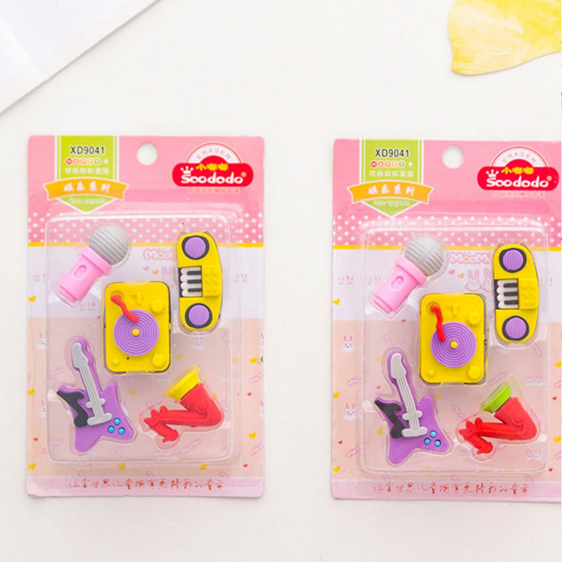 5pcs/box Kawaii Music Instrument Set Eraser School Office Rubber Eraser Special Painting EraserGive Your Child A Reward Gift
