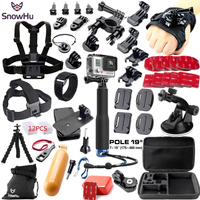SnowHu for Gopro Accessories Set for go pro hero 7 6 5 4 kit 3 way selfie stick for Eken h8r for xiaomi for yi 4K EVA case GS38