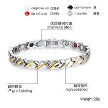 Для женщин личности магнитный браслет Нержавеющая сталь Магнитная Здоровье и гигиена браслет подарок для женщины 051