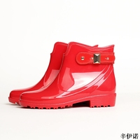 new winter boots brand design ankle boots rain boots elastic band shoes woman sexy Buckle accessories rubber waterproof flats 41
