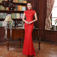 Red Chinese Wedding Dress For Women Lace Fishtail Bride Dress Chinese Cheongsam For Evening Party Female