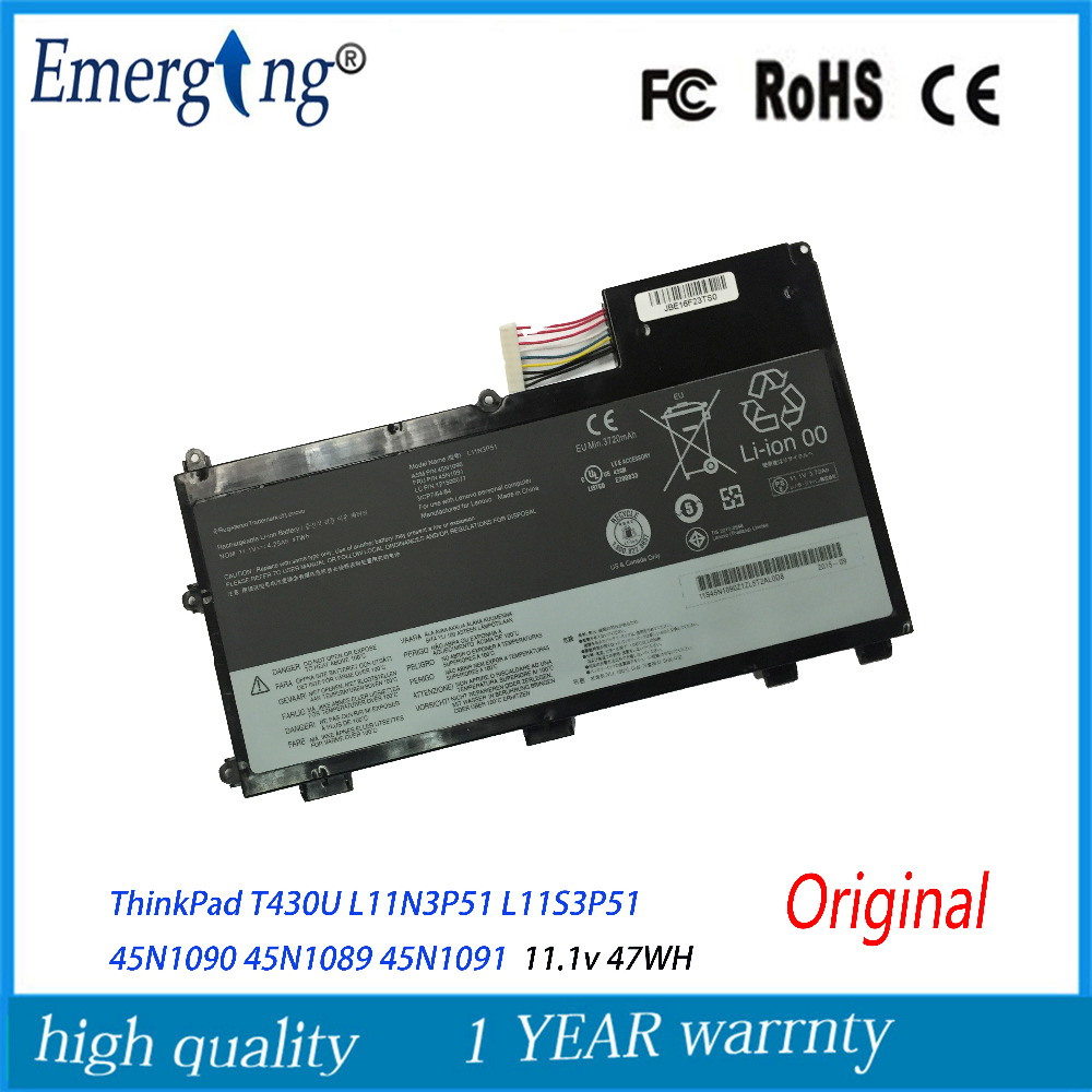 11.1V 47Wh New Original Laptop Battery for <font><b>Lenovo</b></font> ThinkPad <font><b>T430U</b></font> L11N3P51 L11S3P51 45N1090 45N1089 45N1091 image