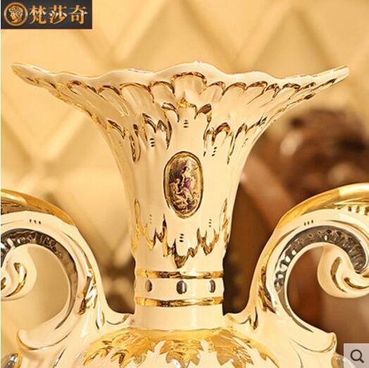 European ceramic flower arranging vase luxury living room retro TV cabinet home floor decoration ornaments in Vases from Home Garden