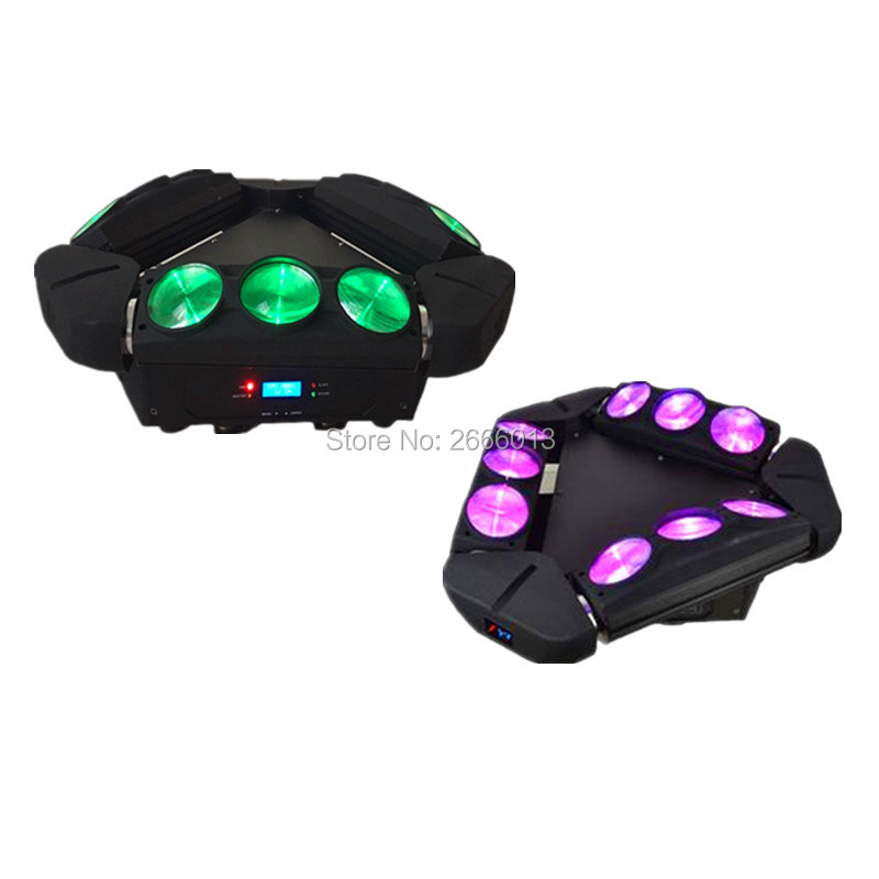 2pcs/lot LED Spider Light 9x10w Mini LED Infinite Rotated Beam Moving Head Light RGBW Endless Rotate Beam Effect dj disco lights 2pcs lot dmx512 rgbw 4in1 mini led moving head light for disco dj club home party and stage effect lights 10w led beam light