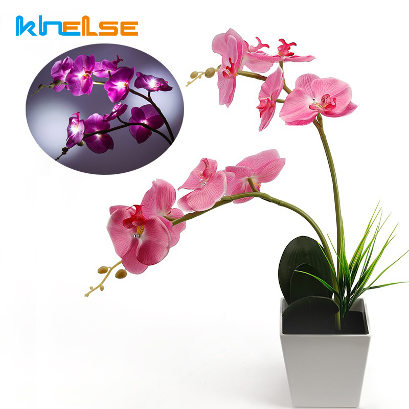New 35CM LED Blossom Orchid Flower Light LED Lighted Artificial Orchid Arrangement 2*AAA Battery Orchid Pot with 9PCS LED Lights carnation artificial flower with pot