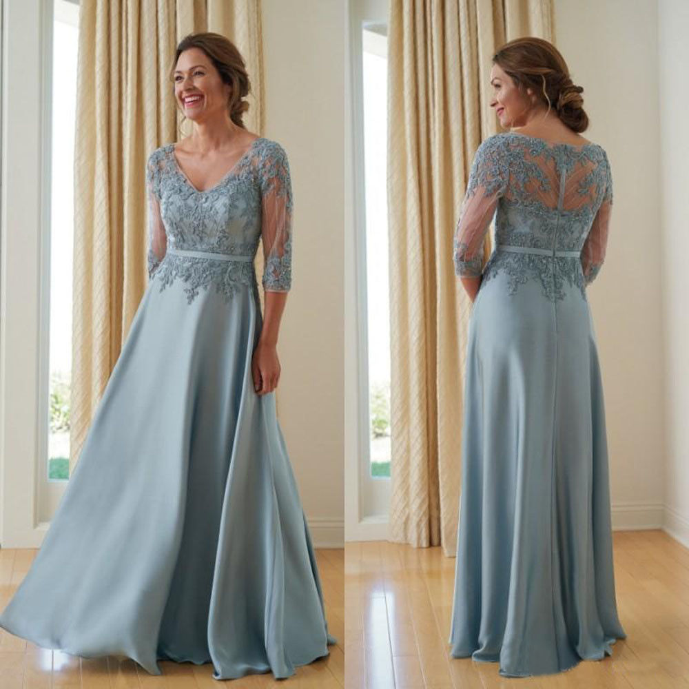 Mother Of The Bride Dresses 3/4 Sleeves Blue Evening Party Wedding Guest Gown