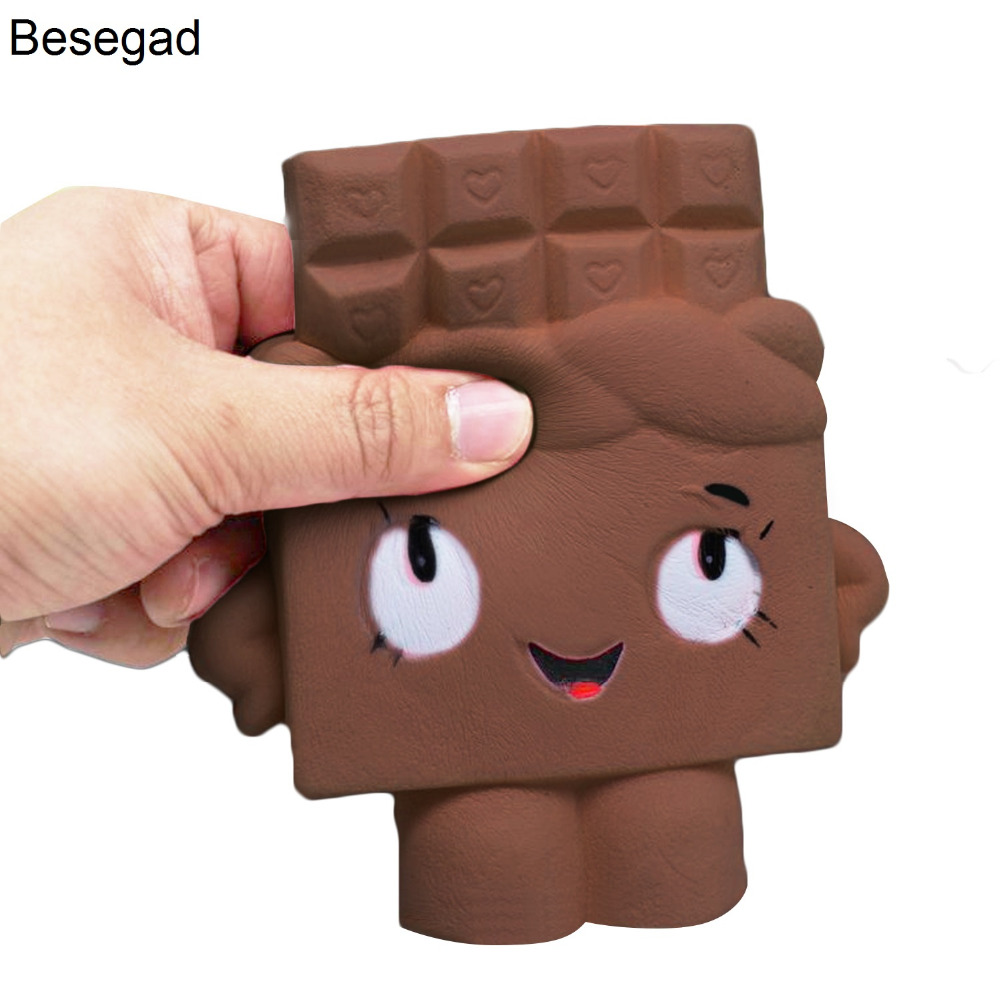 Besegad 12CM Kawaii Jumbo Soft Boy Girl Chocolate Squishy Toy Slow Rising for Children Relieves Stress Anxiety Cabinet Decor