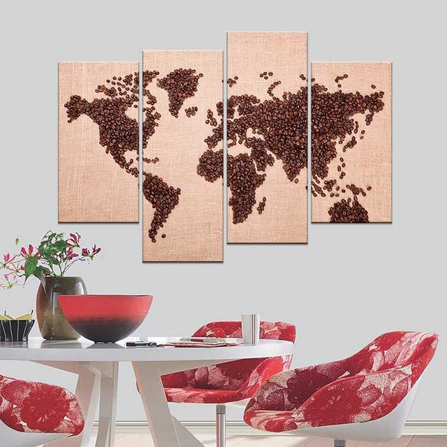 New fashion modern hd printed home decorative coffee bean design new fashion modern hd printed home decorative coffee bean design world map canvas paintings living room gumiabroncs Gallery